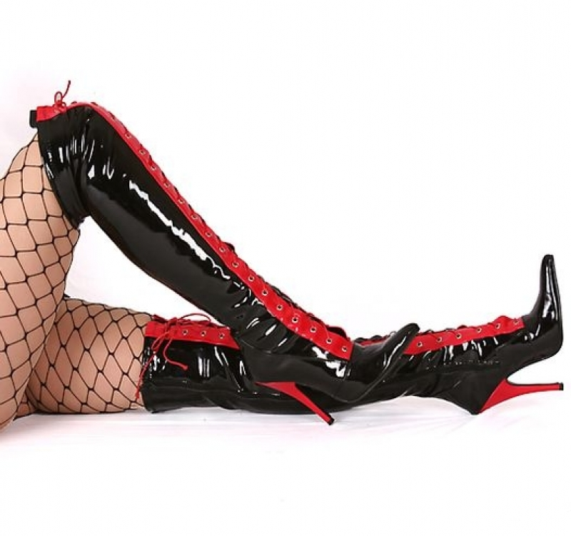 Black And Red Over Knee Boot Triple L